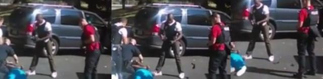 Sequence of still images from video taken on a cellphone by Keith Scott' wife show his killer, officer Brentley Vinson, tossing (perhaps a gun?) onto the pavement near his dying victim (MSNBC video)