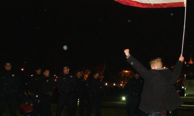 Jay Vehige stands up to Tulsa police on a bitterly cold Oklahoma night, Nov. 3, 2011