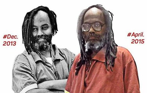 Mumia in 2013 and in 2015, showing the ravages of the Hep-C infection he contracted in the interim