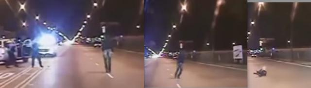 Two cops draw guns on unarmed youth walking in opposite lane. One cop shoots him 16 times, as he poses no t