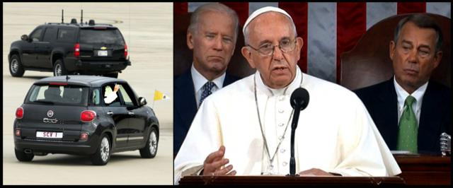 Pope Francis arriving by Fiat and speaking in front of VP Joe Biden and House Speaker John Boehner