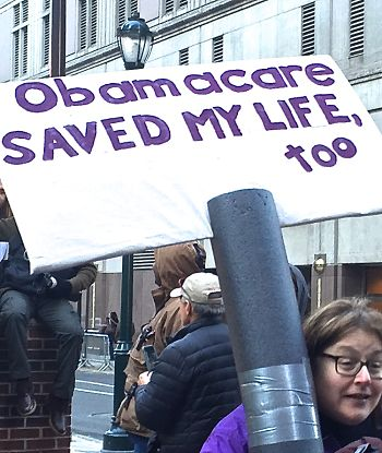 Protestor in Philadelphia opposed to GOP assaults on health care. LBW Photo