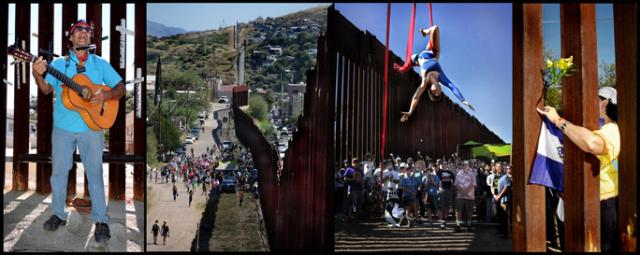 Pablo Peregrina sings and an acrobat dances at the wall cutting through Ambos Nogales