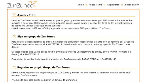 The registration page for the ZunZuneo service